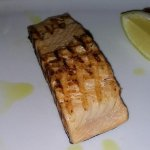My salmon...good but thumb down for the presentation