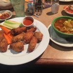 Chicken wings and tortilla soup