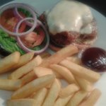 Southern fried chicken burger served with seasoned chips- check out our burger and a drink deal