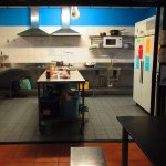 Excellent stainless steel kitchen, very clean, free breakfast, large dining area.