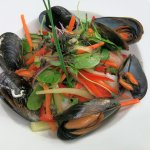 Tiger prawns and mussels with vegetable julienne