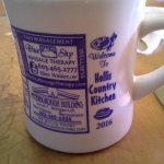 Hollis Country Kitchen coffee mug dated 2016, with advertising - brilliant!