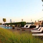 Terrace & pool at Hilton Danube Waterfront