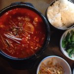 Korean Seafood Soup with sides