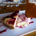 White chocolate and raspberry cheesecake. Yum!