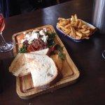 Veggie platter and chips.  Really lovely!