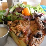 vegetable frittata with salad & chile sauce