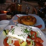 Delicious cheese pie and Greek salad