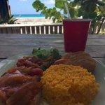 Cayman Style Mahi and guava juice