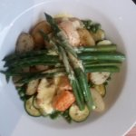 Oven roasted Salmon with courgettes, peas, asparagus, sauteed potatoes and lime hollandaise