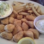Fried Scallops with homemade tartar sauce, cole slaw and French fries