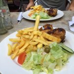 grilled chicken and fries/ salad