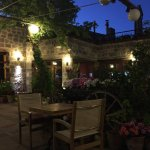 courtyard dining area just after sunset