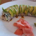 Dragon Roll with Salmon, cucumber, asparagus and avocado