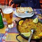 Paella del señorito and lasagna. Top notch!