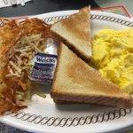 Hash browns, toast, scrambled eggs