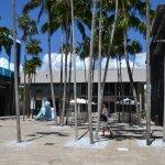 Ua plazoleta o espacio con palmeras y esculturas en Miami Desing Distrit