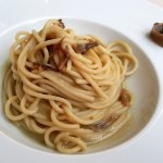 Bigoli in Salsa (Venetian whole wheat pasta with anchovy sauce).