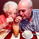 Jerry and Esther sipping Thai Tea ala lovebirds