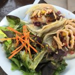 The food here is delish!  Had the twin Mahi Mahi Taco and a side of crazy fries.  My son had the