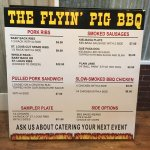 Menu board for The Flyin' Pig BBQ (June, 2016)