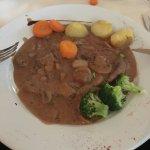 Peppercorn steak with veg. Tasted like gravy on cheap meat