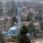 View of blue mosque Addis from roof terrace