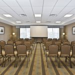 Meeting room set up for a classroom style meeting.