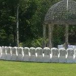 Set up for outside wedding in gazebo
