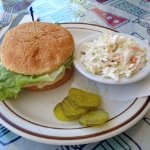 Grilled chicken sandwich with coleslaw