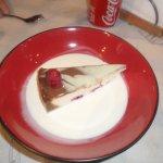 Raspberry ganache cheesecake.