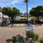 """View on the market place 15 m from """"Die Scheuer"""", were there is a market every Wed and Sat morni"""