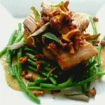 Pork belly with chanterelles and ceps