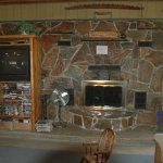 Enjoy the fireplace in the Lodge