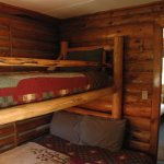 Log bunkbeds in cabins