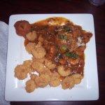 1/2 fried shrimp and 1/2 shrimp etouffee