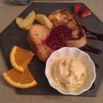 pain perdu boule de crème glacée vanille