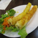 Pork and shrimp spring rolls - authentic, greaseless and good.