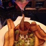 Apple Guacamole with goat cheese and Plantain chips with a Watermelon Martini hello delicious!!!