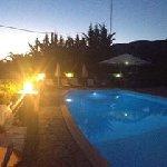 Poolside at dusk.