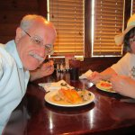 Louis and I eating at Great buffet restaurant in New Hampshire.
