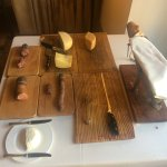 Local cheeses and charcuterie at breakfast.
