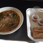 Spicy Beef Noodle Soup and spring rolls.