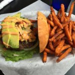 Border Burger with sweet potato fries
