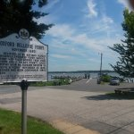A view of the ferry landing and historical sign. Ferry in oeration since 1683