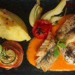 Scorpion fish, red pepper coulis