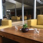 A pleasant lobby to hang around, read a book
