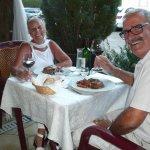 Dinner on the terrace at 'le Moulin de Varen' Aveyron France