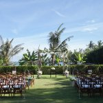 Wedding Ceremony set up to right of Makanda's Pool (closer to Cantik)