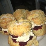 Our homemade scones, filled with fresh cream and jam